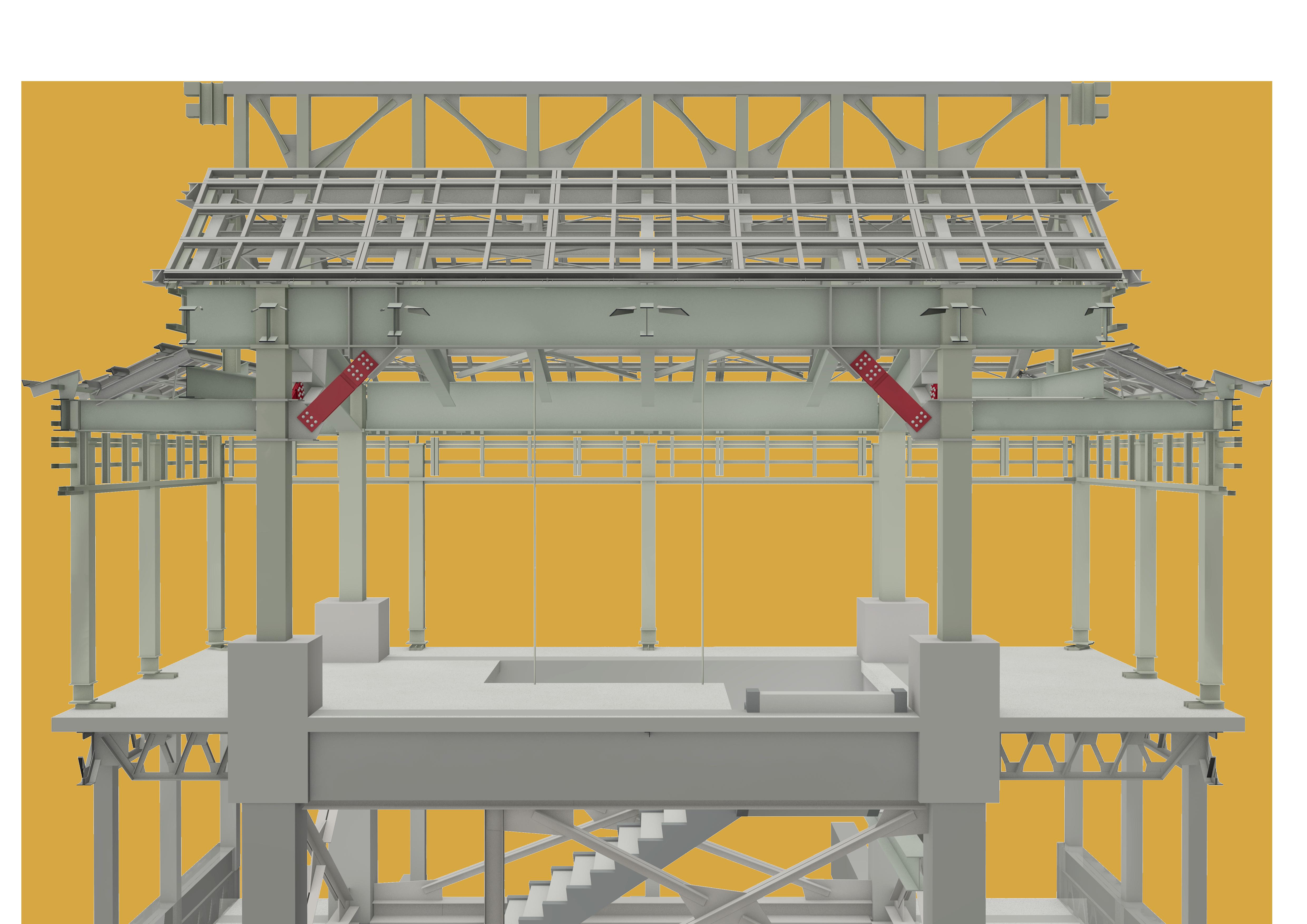 図1 制震ダンパーの取り付けイメージ(小天守4階) 画像提供:大林組