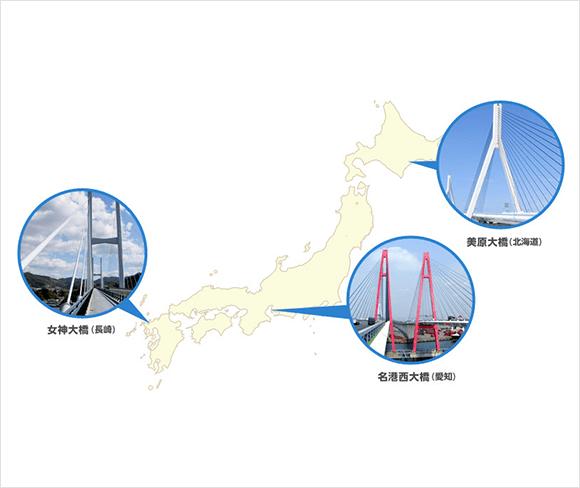 日本地図 美原大橋(北海道) 名港西大橋(愛知) 女神大橋(長崎)